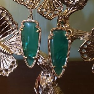 Kendra Scott Sky earrings emerald green and gold